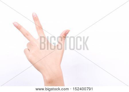 finger hand girl symbols isolated concept three fingers salute congratulation on white background