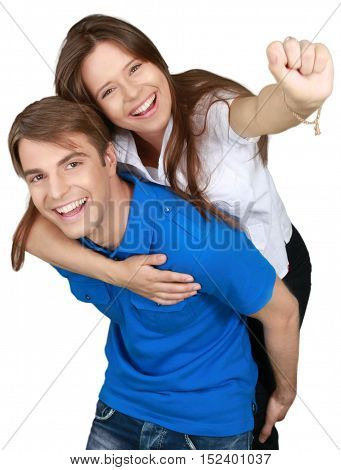 Happy Boy Carrying a Girl Piggyback - Isolated