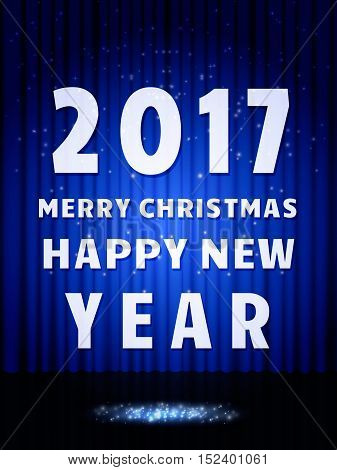 Happy 2017 New Year Flyer. Christmas Greeting Card