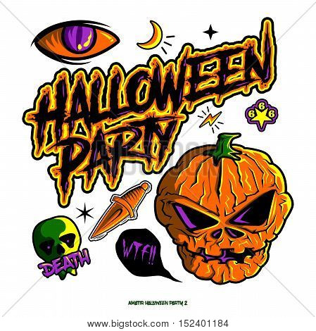 Halloween Party Pumpkins. Hand Drawing to Digital Finished available in EPS.