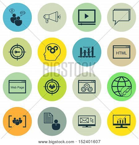 Set Of Marketing Icons On Report, Coding And Seo Brainstorm Topics. Editable Vector Illustration. In
