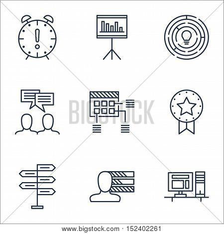 Set Of Project Management Icons On Presentation, Time Management And Opportunity Topics. Editable Ve