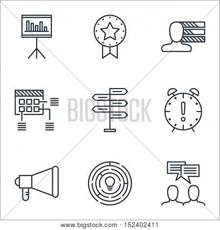 Set Of Project Management Icons On Announcement, Presentation And Personal Skills Topics. Editable V