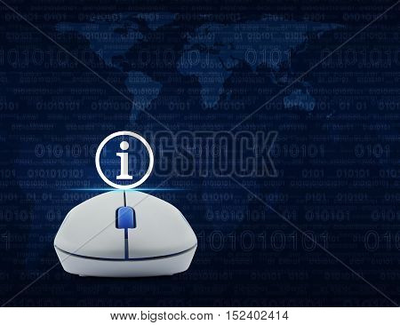 Wireless computer mouse with information sign icon over computer binary code blue background Elements of this image furnished by NASA