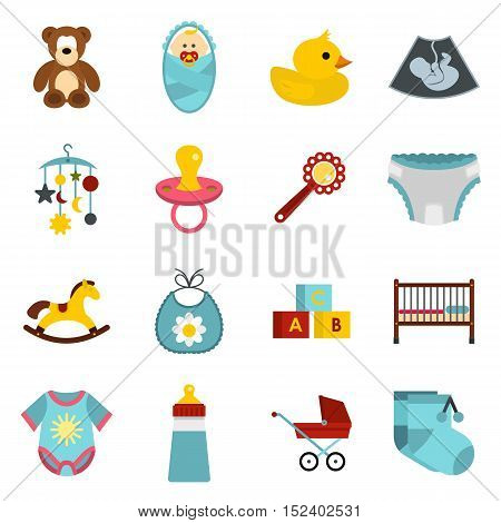 Newborn icons set. Flat illustration of 16 newborn vector icons for web