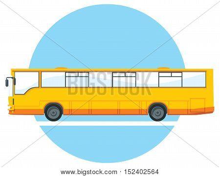 yellow city bus illustration. side view. urban traffic