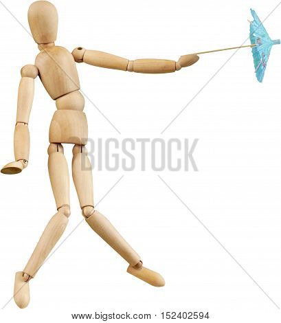 Wooden Mannequin Dummy Defending With Paper Umbrella - Isolated