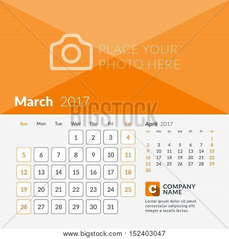 March 2017. Calendar For 2017 Year. Week Starts Sunday. 2 Months On Page. Vector Design Print Templa