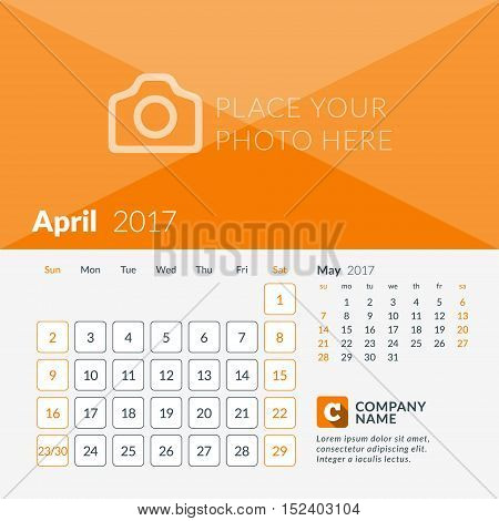 April 2017. Calendar For 2017 Year. Week Starts Sunday. 2 Months On Page. Vector Design Print Templa