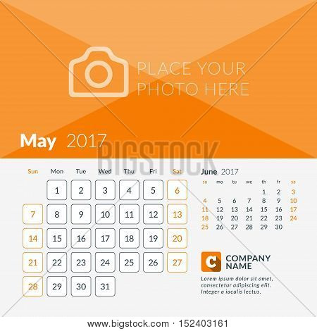 May 2017. Calendar For 2017 Year. Week Starts Sunday. 2 Months On Page. Vector Design Print Template