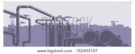 Industrial oil refinery factory landscape illustration background