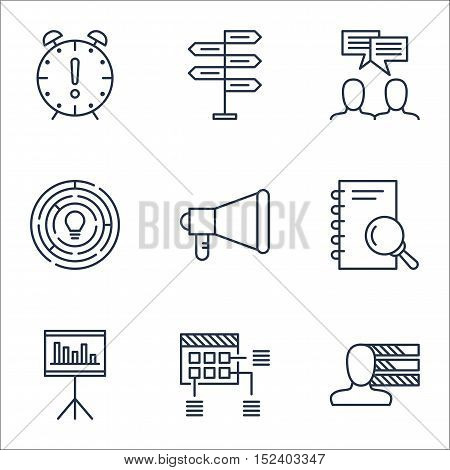Set Of Project Management Icons On Analysis, Discussion And Opportunity Topics. Editable Vector Illu