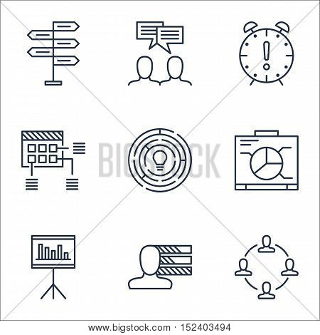 Set Of Project Management Icons On Personal Skills, Presentation And Discussion Topics. Editable Vec