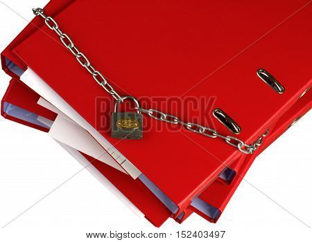 Binders/file organizers surrounded by a lock and chain