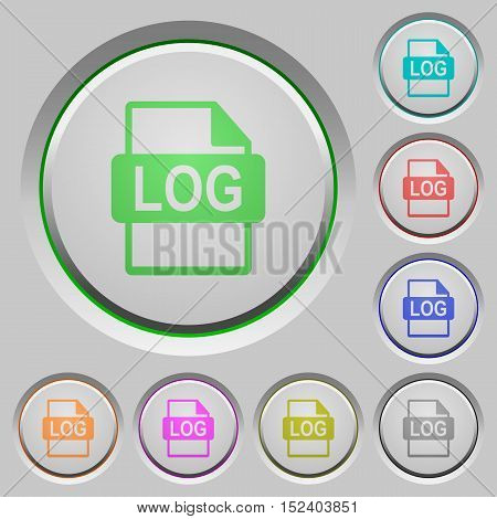 Set of color LOG file format sunk push buttons.