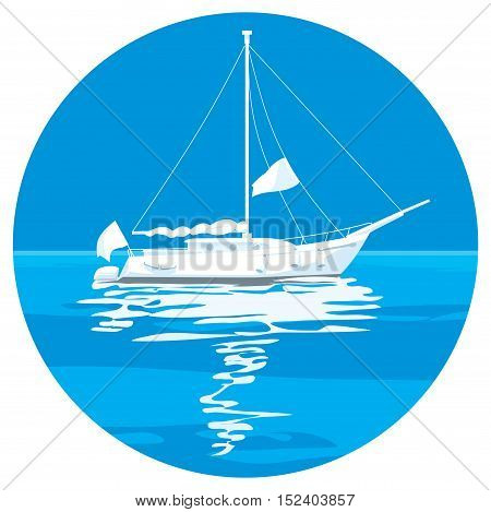 Sailing ship yachts with white sails in the open Sea. Luxury boats. illustration