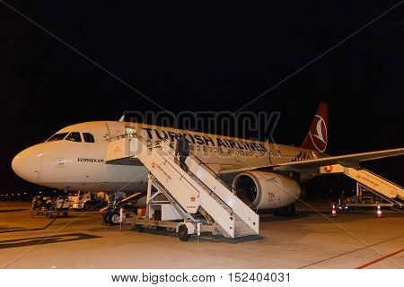 Turkey Elazig aircraft on the tarmac after landing from Istanbul