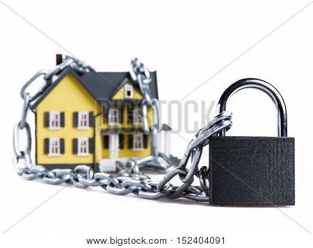 Model of a House witch Chain and Padlock