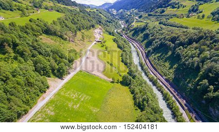 Salzach river flowing through the valley of the Austrian Alps Salzburg