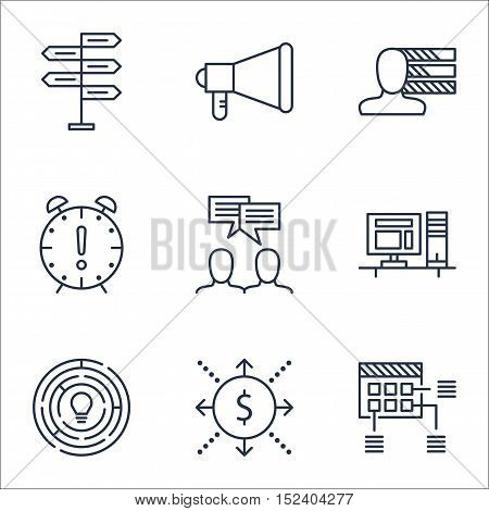 Set Of Project Management Icons On Money, Personal Skills And Time Management Topics. Editable Vecto