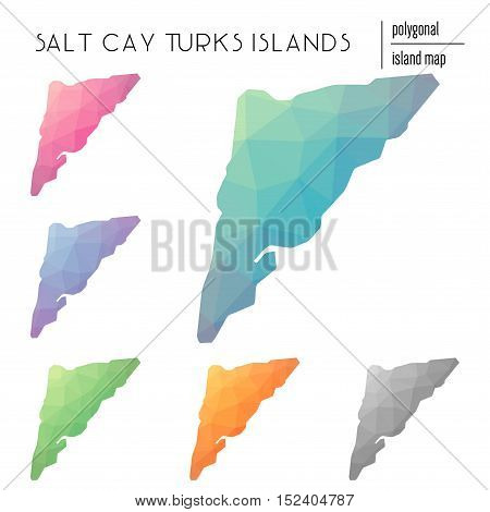 Set Of Vector Polygonal Salt Cay, Turks Islands Maps Filled With Bright Gradient Of Low Poly Art. Mu