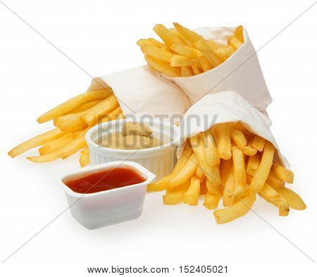 French Fries In Packaging With Nuts Abd Ketchup