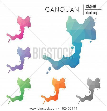Set Of Vector Polygonal Canouan Maps Filled With Bright Gradient Of Low Poly Art. Multicolored Islan