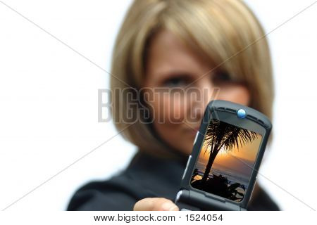 A Beautiful Woman With Phone - Beach Display