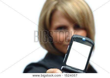 A Beautiful Woman With Phone - White Display