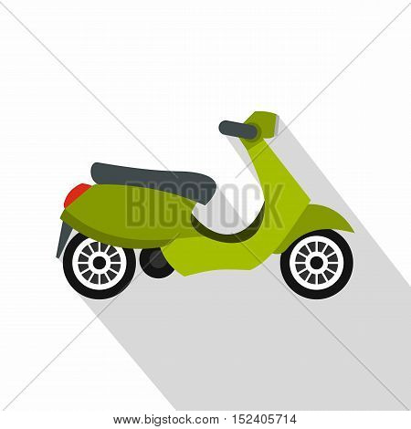 Green scooter icon. Flat illustration of green scooter vector icon for web isolated on white background