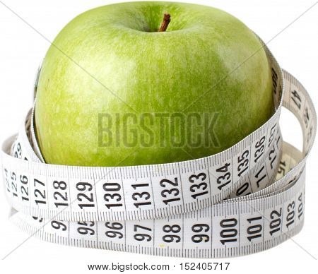 Apple with a measuring tape - weight loss concept