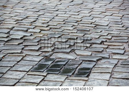 Old wet paving stone road in Prague