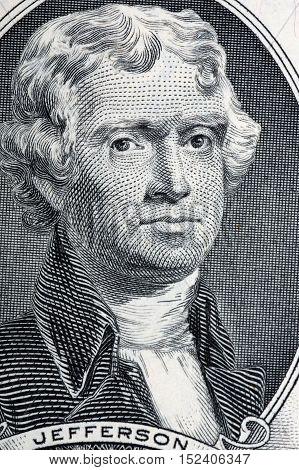 President Thomas Jefferson portrait from two us dollars