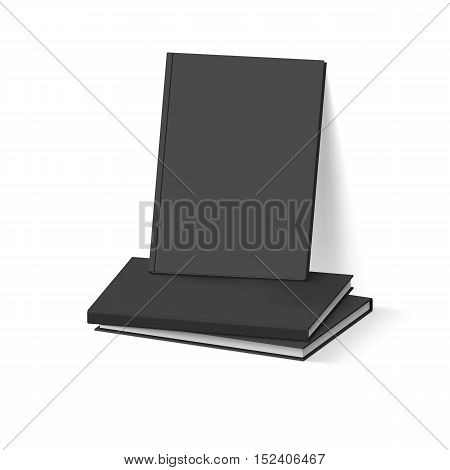 Stack of Black Books on White. Business Mockup Template