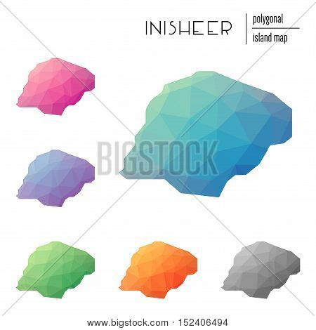 Set Of Vector Polygonal Inisheer Maps Filled With Bright Gradient Of Low Poly Art. Multicolored Isla