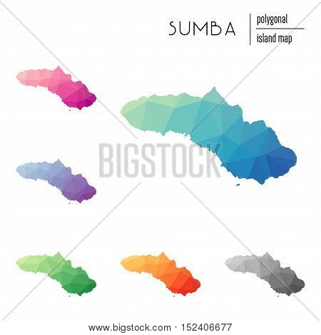 Set Of Vector Polygonal Sumba Maps Filled With Bright Gradient Of Low Poly Art. Multicolored Island