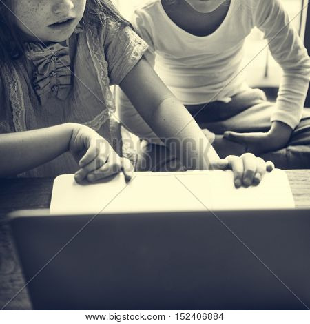 Girls Using Computer Concentrated Concept