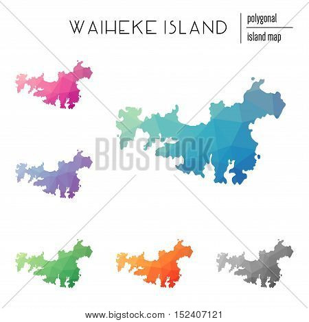 Set Of Vector Polygonal Waiheke Island Maps Filled With Bright Gradient Of Low Poly Art. Multicolore