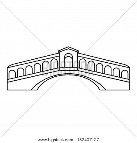 Rialto Bridge in Venice icon. Outline illustration of Rialto Bridge vector icon for web