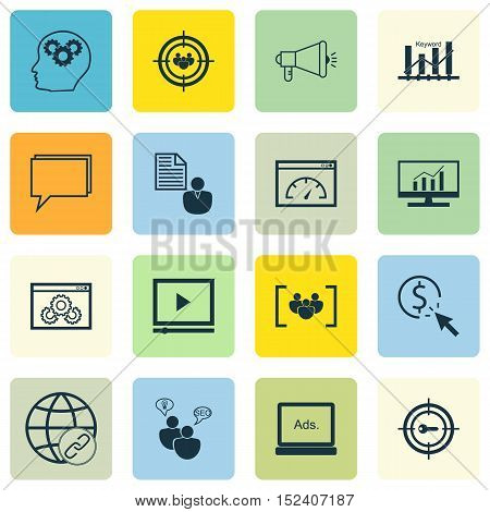 Set Of Advertising Icons On Connectivity, Report And Digital Media Topics. Editable Vector Illustrat