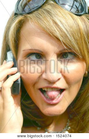 A Crazzy Woman With Phone
