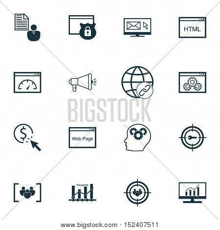 Set Of Marketing Icons On Newsletter, Report And Market Research Topics. Editable Vector Illustratio