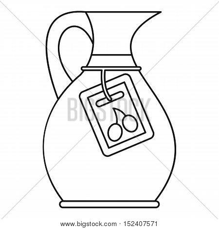 Glass jug with green olives icon. Outline illustration glass jug vector icon for web