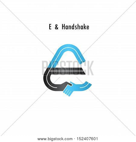 E- letter icon abstract logo design vector template.Business offerpartnership icon.Corporate business and industrial logotype symbol.Vector illustration