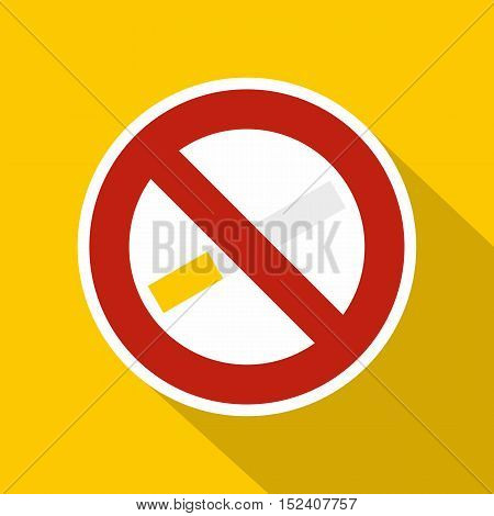 No smoking sign icon. Flat illustration of no smoking sign vector icon for web isolated on yellow background