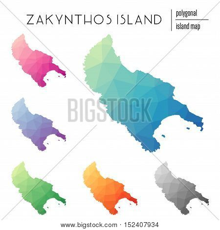 Set Of Vector Polygonal Zakynthos Island Maps Filled With Bright Gradient Of Low Poly Art. Multicolo