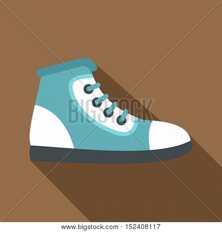 Blue athletic shoe icon. Flat illustration of athletic shoe vector icon for web