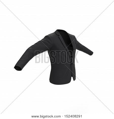 Male one button blazer isolated on white. 3D illustration
