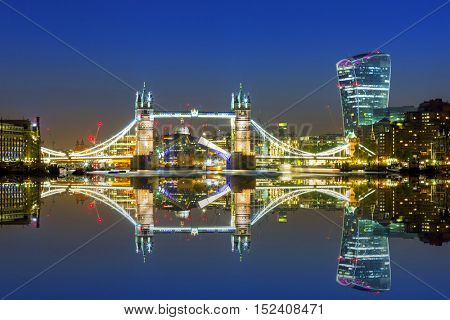 Tower Bridge in London at night, UK