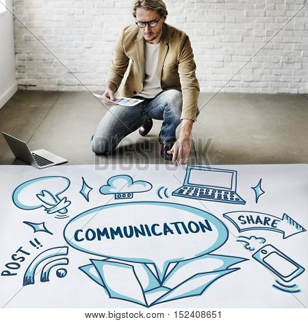 Connection Communication Ideas Outside Box Sketch Concept